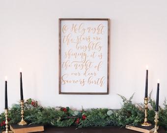 Oh Holy Night Sign | Farmhouse Christmas Decor | Farmhouse Christmas Wall  Decor
