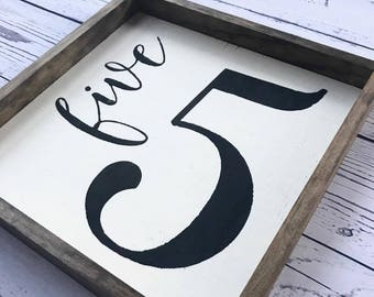 Family Number Sign. Framed Family Number Sign. Family Farmhouse Sign. Wood Framed Sign. Family Sign. Rustic wall decor.  Wood Sign.