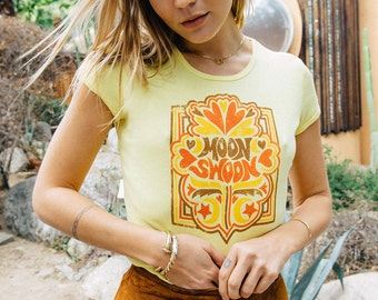 Moon Swoon tee - 70s Vintage Inspired tshirt - Moon tshirt - hippie tee - tshirt with sayings - cute yellow tshirt - boho clothing