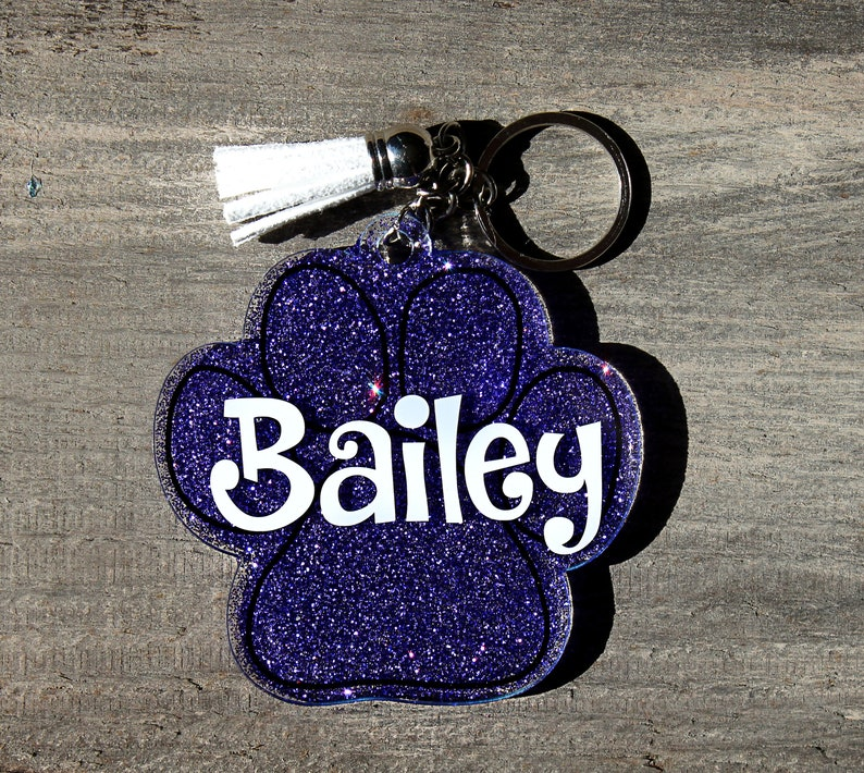 0d022c4e49 Paw print glitter acrylic key chain Custom glitter acrylic | Etsy
