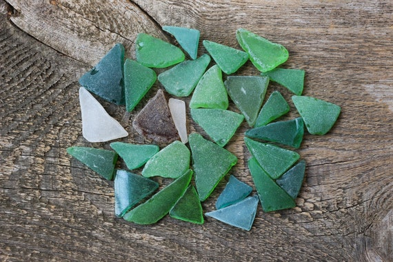 triangle flat sea beach glass 20 pcs lot bulk blue green red jewelry use
