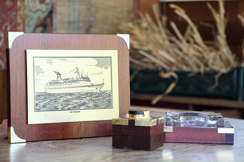 Wood smoking set Wood ashtray Table lighter Ship picture Marine gift for sailor USSR maritime art soviet vintage nautical decor sea decor
