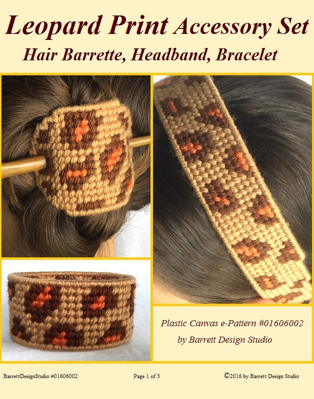 Plastic Canvas E Pattern Book Leopard Print Accessories Headband