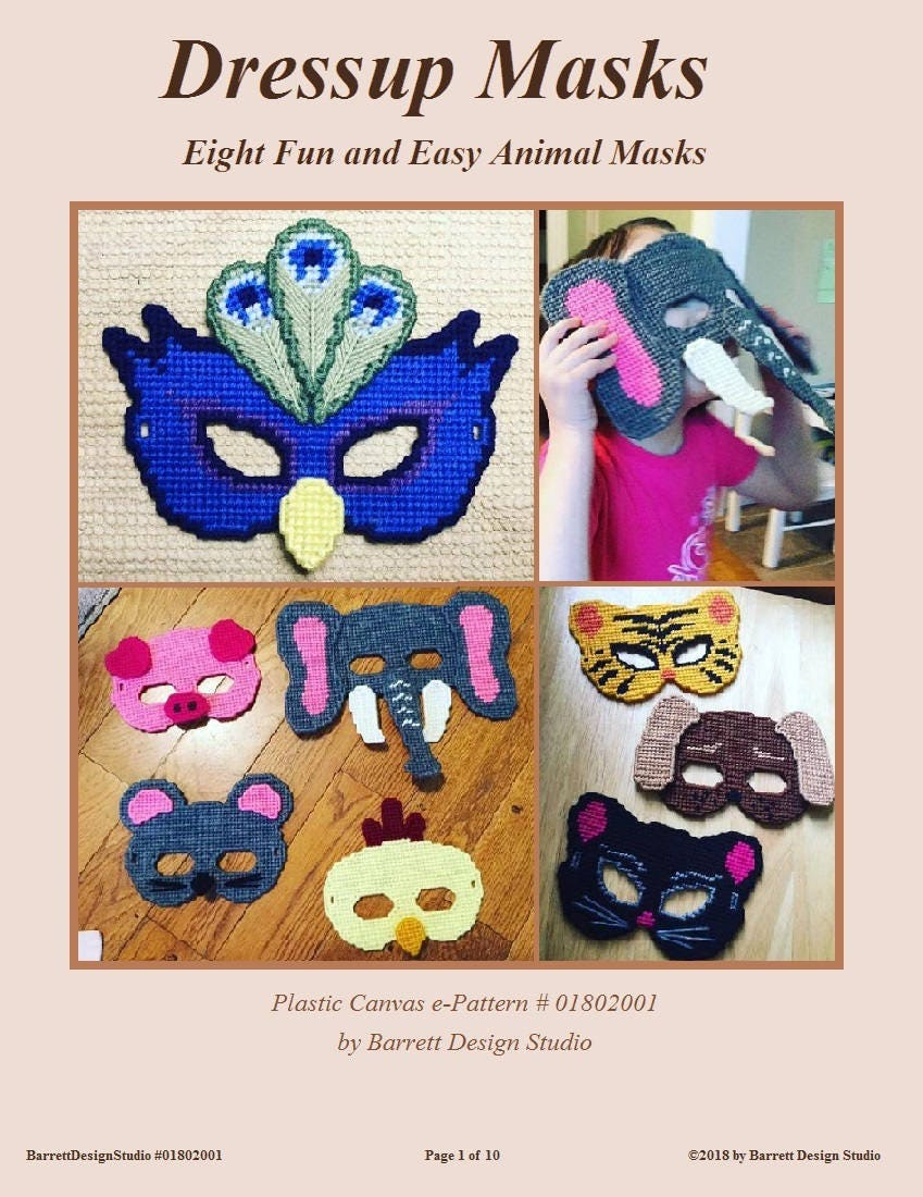 plastic canvas pattern dress up masks for kid halloween costume