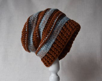 Brown/blue slouch hat