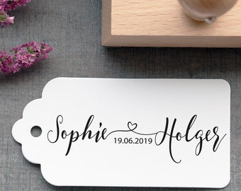 """Wedding Stamp """"Heart Connected""""//Kalligraphiestil//name connected with heart//wedding Date"""