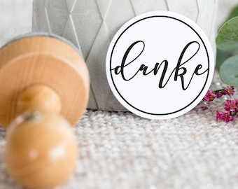 Stamp Thank you round/Thanksgiving/Calligraphy
