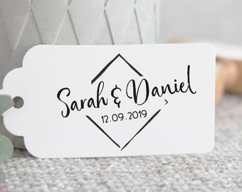 """Personalized Wedding Stamp """"modern square""""//name//Wedding Date//For DIY stationery for marriage//with a handle"""