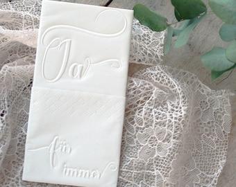 25 embossed handkerchiefs for tears of joy // Embossing: Yes - forever // Wedding // Engagement // JGA