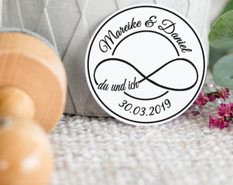 Personalized Wedding Stamp Logo infinity sign//round//wood stamp//Save the date//invitation
