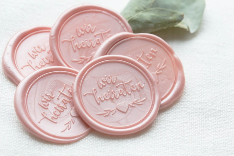 10 Wax Seal We marry / for wedding invitations : blush