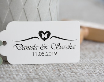Wedding Stamp, series Butterfly heart, with handle, for trailers, stationery, invitation or bands, bridal couple with name and date