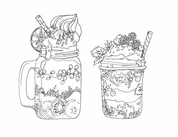 Geliefde Kunst kleurplaten voor volwassenen Smoothie bekers Foodie | Etsy @RD54