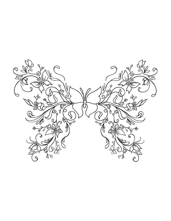 Butterfly Art Coloring Pages for Adults Printable Instant | Etsy
