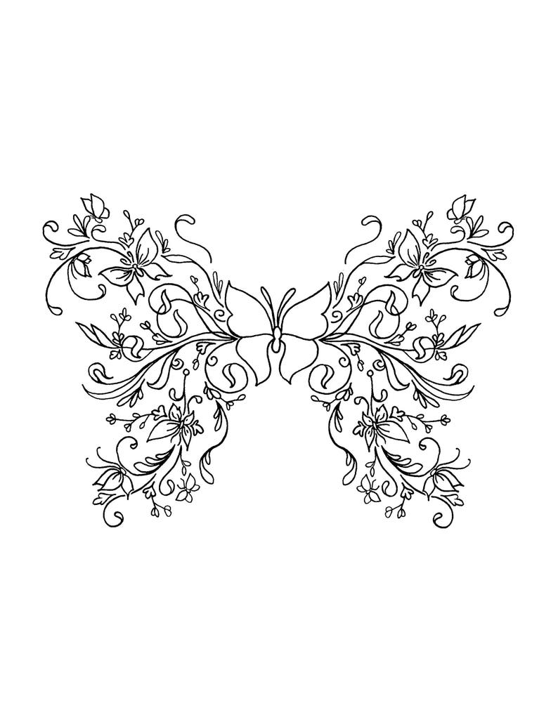 Butterfly Art Coloring Pages for Adults Printable Instant   Etsy