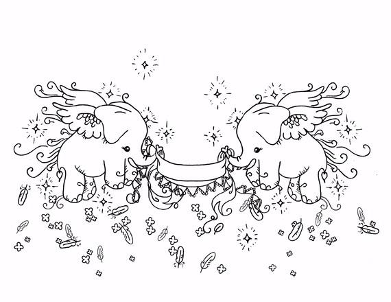 Fliegen Sussen Elefanten Kunst Malvorlagen Fur Erwachsene Etsy