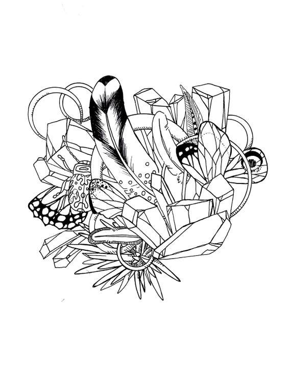 Kunst Malvorlagen Für Erwachsene Kristalle Und Schmuckstücke Druckbare Sofortigen Download Jpg Aktiv Aktiv