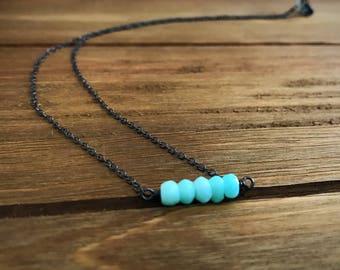 Peruvian Opal Mini Bar Necklace ~ Oxidized Sterling Silver ~ October Birthstone ~ Blue Opal ~ Gemstone Necklace ~ Gemstone Bar