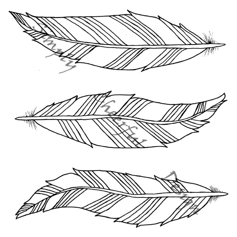 Feather Coloring Page - 3 Aztec Feathers printable coloring page for adults  and children