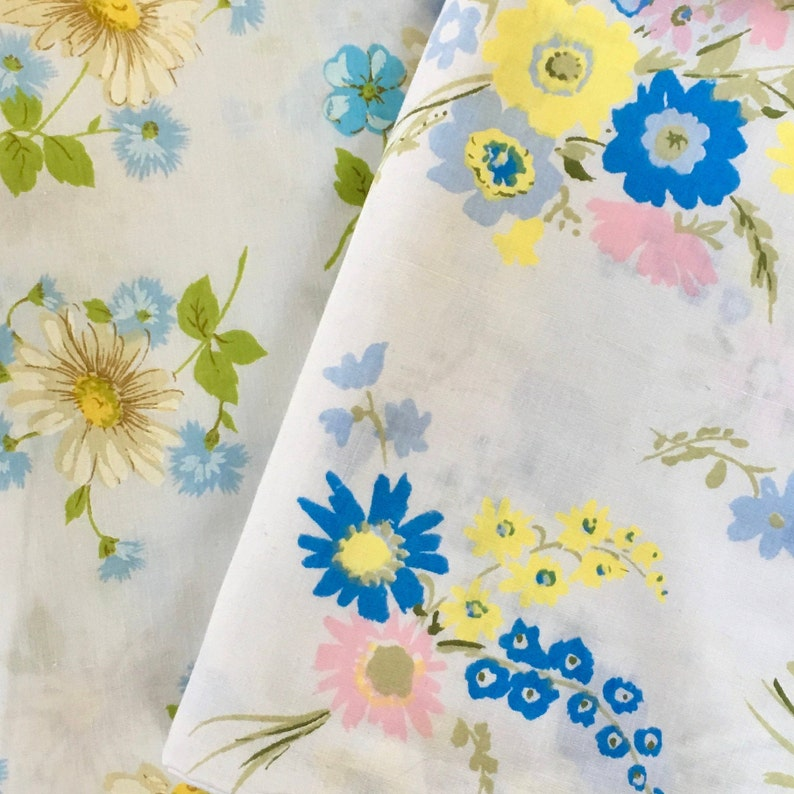 Midcentury Textiles for Quilting and Sewing Coordinated Floral Fabric Sears Morgan Jones Two Vintage Flat Sheets FREE SHIPPING!