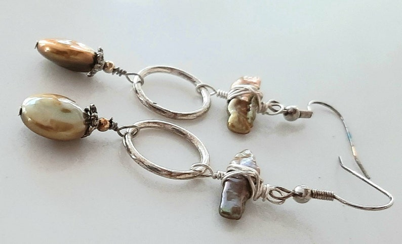 gift Coin Pearl earrings wire wrapped hieshi pearls handmade Golden pearl tone
