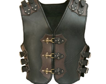 Mercenary handmade genuine leather motorcycle biker vest