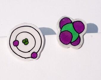 Atom / Molecule Stud Earrings -- Unique Item -- Science jewellery --