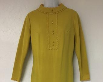 1970's Vintage Toni Todd Wiggle Dress in Mustard Yellow