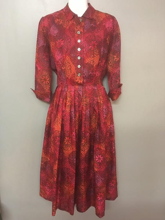 WD-1970's McKettrick Red Silk Day Dress