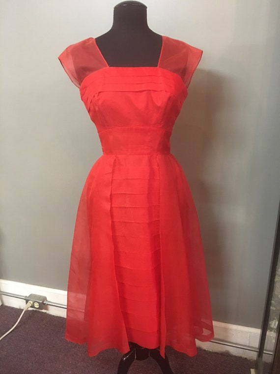 FW-1950's Handmade Red Chiffon Cocktail Dress