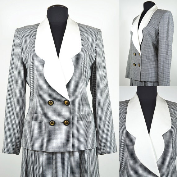Black and White Houndstooth Albert Nipon Suit