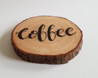 Coffee Coaster - Natural Wood Coaster, Coffee addict, Wood Burning, Woodburning Art, Barware, Wood Slices, Wood Slice Art, Wooden Coasters
