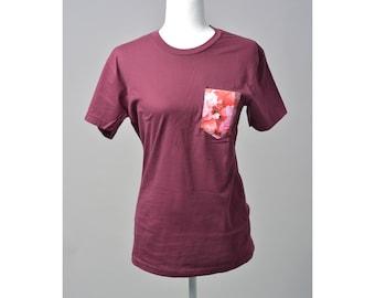 Unisex Crew Neck Rose Pocket T-shirt / Tee