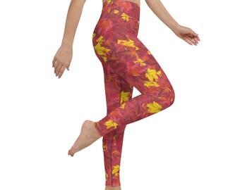 Maple Leaf Yoga Leggings (high waist, full length, silky soft, 4-way stretch, XS-6X)