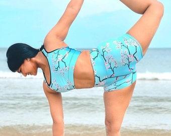 Sakura Yoga Shorts (high waist, mid-length, silky soft and super stretchy, XS-XL)