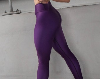 Blackberry Sangria Yoga Leggings (solid deep purple color, high waist, full length, silky soft material, XS-6X)