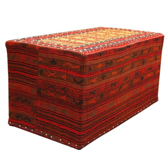 Admirable Vintage Persian Rug Carpet Ottoman Kilim Handmade Chair Bench Patio Stool Andrewgaddart Wooden Chair Designs For Living Room Andrewgaddartcom