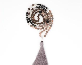 Moonstone & Obsidian Mala, Black Obsidian, yoga jewelry, gemstone mala, prayer beads, meditation jewelry,spirituality, psychic protection