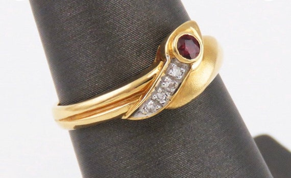 Snake Ruby and Diamond Ring