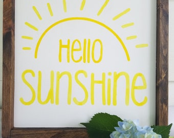 Hello sunshine wooden sign