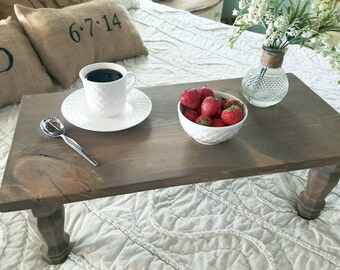 Bed tray table with legs