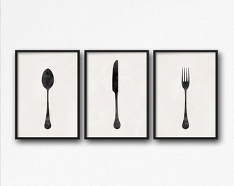 Silverware Art, Kitchen Art, Kitchen Poster, Knife Spoon Fork, Knife Poster, Fork Poster, Spoon Poster, Food Art, Food Poster