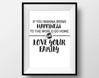 If you wanna bring happiness to the world, Mother Teresa, Printable Wall Art, Quote Poster, Home Decor, Inspirational, Family