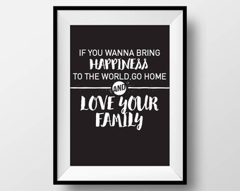 If you wanna bring happiness to the world, Mother Teresa, Wall Art, Quote Poster, Home Decor, Inspirational, Family