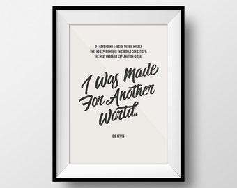 Heaven Quote, Desire Quote, C. S. Lewis, Inspirational Quote Print, Office Poster, Motivational Print, Gift for Friends, Quote Poster