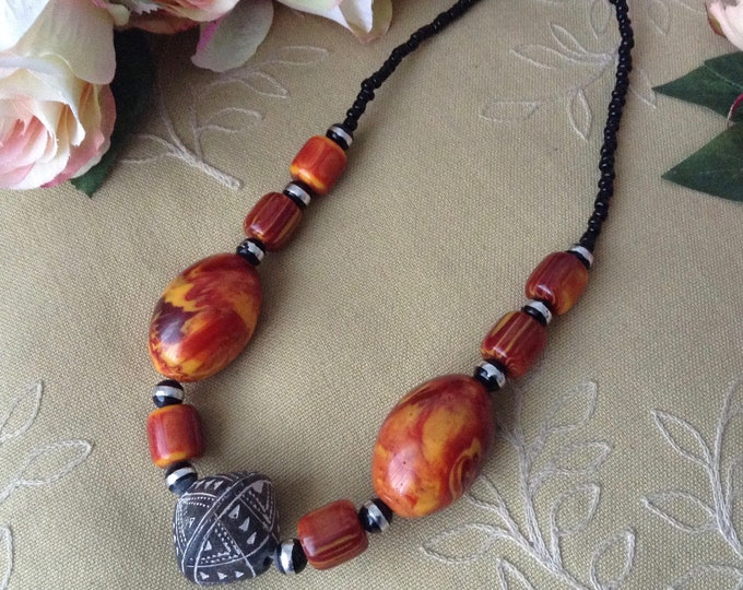 Vintage Amber Color Necklace with Large Lucite and  Stone Beads Tribal Necklace,Summer Necklace Ethnic Style Necklace Matinee Necklace