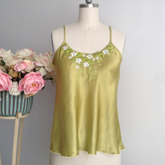 Vintage Apple Green Floral Sleeveless Camisole, El