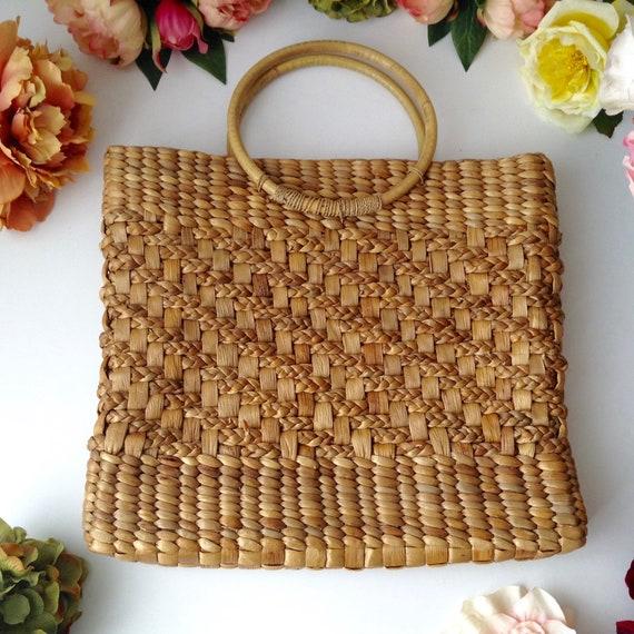 Vintage Natural Woven Straw Square Handbag, Summer