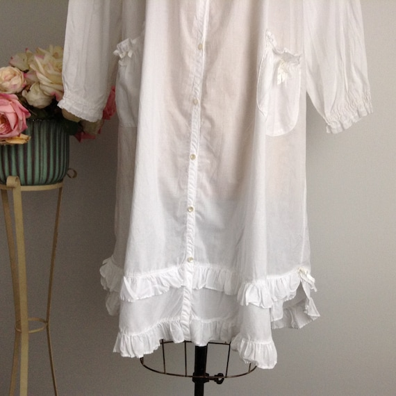 Vintage NICOLE White Cotton Long Sleeve Nightgown… - image 8