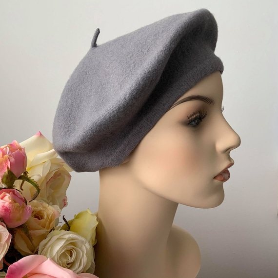 Vintage Grey Wool Beret, Elegant Beret, Cold Weath